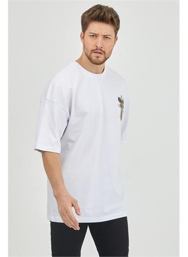 XHAN Lila Önür & Arkası Baskılı Oversize T-Shirt 1Kxe1-44624-26 Beyaz